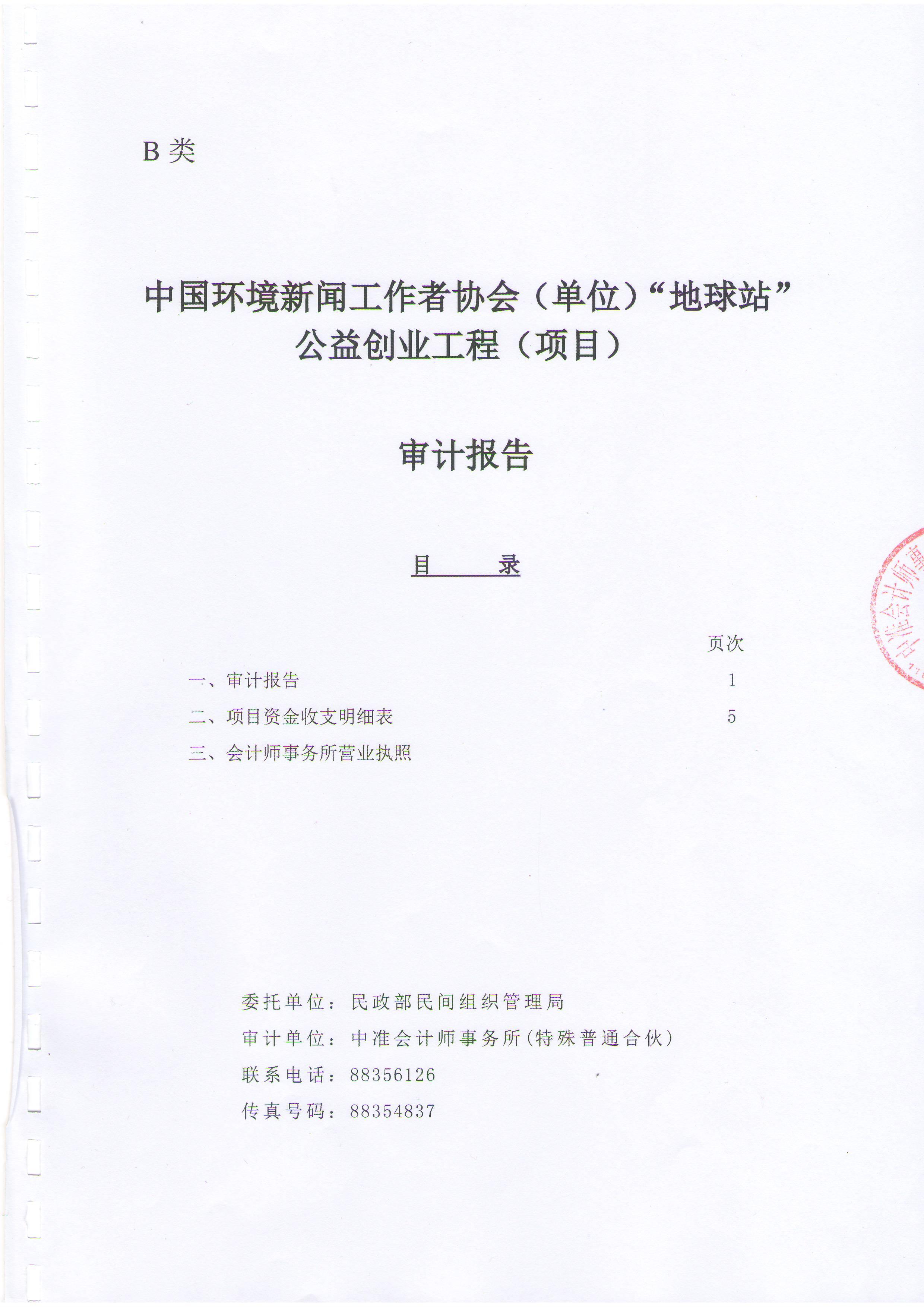 """2013年""""地球站""""公益创业工程项目审计报告"""